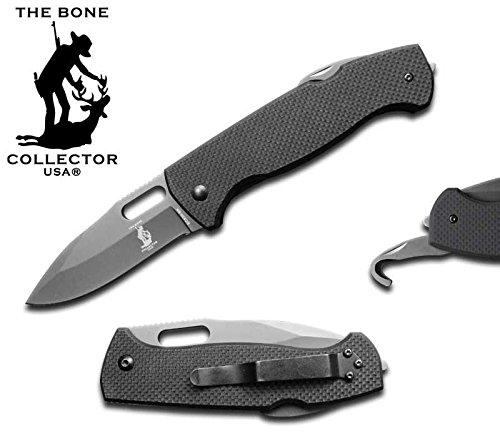 Bone Collector BC-830-BK 4.5″ Pocket Knife G-10 Black Handle with Glass Breaker & Foldable Gut Hook Plain Straight Blade W/Belt Clip