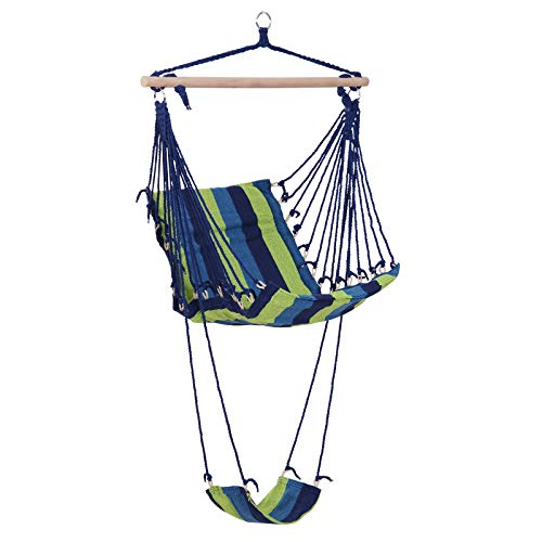 Outsunny Hanging Hammock Chair Swing with Footrest Padded Soft Cushions Indoor/Outdoor - Green and Blue - Island Rope Hammock Chair