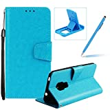 Strap Leather Case for Huawei Mate 20,Wallet Flip Case for Huawei Mate 20,Herzzer Retro Classic Blue Solid Color Magnetic Closure Stand Shockproof Card Holder Slots Folio PU Leather Back Case with Soft Silicone