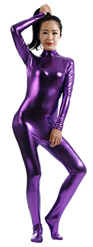 Ensnovo Womens Shiny Metallic Zentai Suit Wetlook Spandex Turtleneck Unitard Purple,XXL -