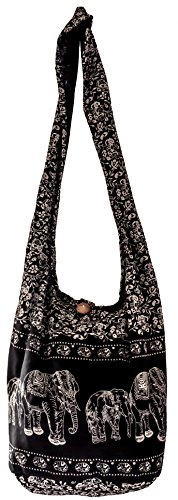 Sling Cross body BAG SHOPPING COTTON over 40 prints owl koi turtle daisy peacock aztec paisley elephant YAM Shoulder BIG (Black ELEPHANT) by cccollections