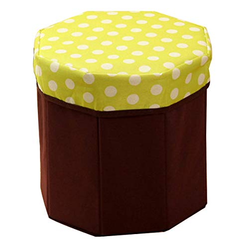 Yardwe Round Storage Ottoman seat Cube Footrest Stool Storage Box containers with lid (Dot Green)