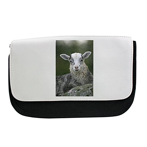 Front view of sheep sitting by the boulder Pencil case, Make-up bag, multibag Sitting Sheep