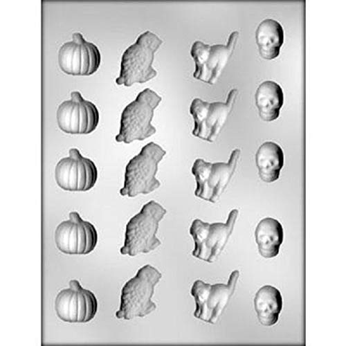 Halloween Pumpkin, Owl, Cat, Skeleton Chocolate Mold - 90-3122 - Includes Melting & Chocolate Molding -