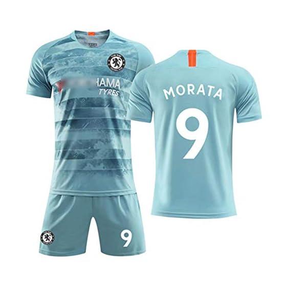 HS-JCWY01 T-Shirt de Football Chelsea Football Club # 9 Alvaro Morata Maillot d'entraînement à séchage Rapide et à Manches Courtes Stretch Respirant Enfants,M170~175CM