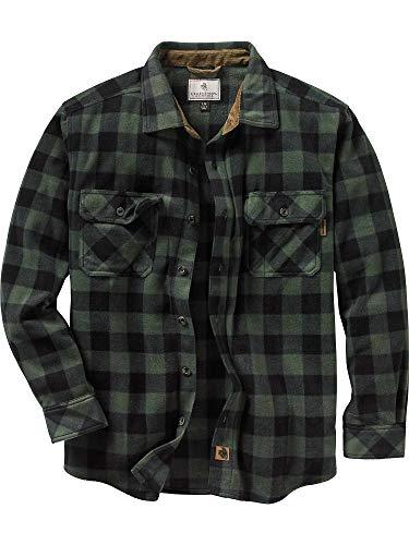 Legendary Whitetails Men's Navigator Fleece Button Up Shirt (Night Forest Plaid Green, XXXXX-Large) (Best Heavyweight Flannel Shirt)