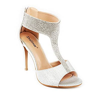 Ladies Womens High Stiletto Heel Sandal Peep Toe Diamante Party Zip Shoes Sizes