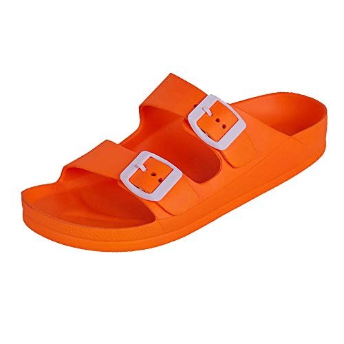 (FUNKYMONKEY Women's Comfort Slides Double Buckle Adjustable EVA Flat Sandals (6 M US-Women, Fluo Orange))