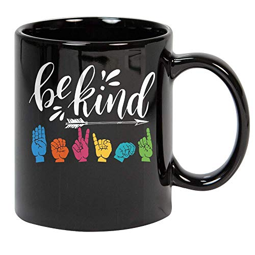 Be Kind ASL Alphabet American Sign Language Hippie Coffee Tea Cup Gift for Women Men Black Ceramic Mug for Hot Chocolate Coffee Tea 11oz