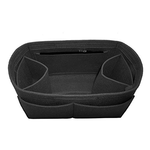 LEXSION Felt Handbag Insert Organizer Bag In Bag with Two Removeable Holder Black X-Large