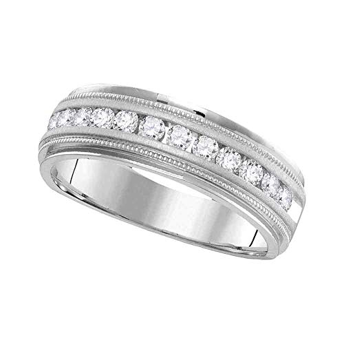 FB Jewels 14kt White Gold Mens Round Channel-set Diamond Milgrain Edge Wedding Band Ring 1/2 Cttw (I1-I2 clarity; H-I color)