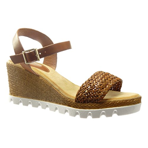 63cc3aef535139 Angkorly - Chaussure Mode Sandale Espadrille plateforme ouverte femme corde  Talon compensé plateforme 7 CM -