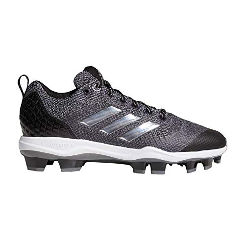adidas Mens PowerAlley 5 TPU Baseball Shoes, Adult, Black/Silver/White, 9.5 M US