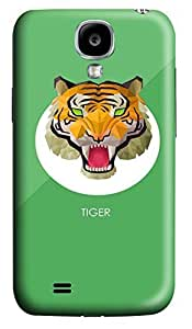 S4 Case, Samsung S4 Case, Customized Protective Samsung Galaxy S4 Hard 3D Cases - Personalized Tiger Green Bg Cover