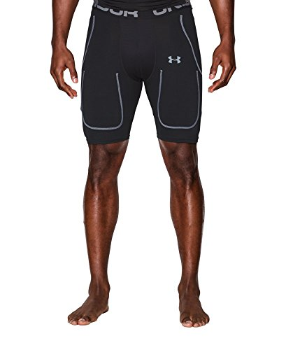 Under Armour Men's 6-Pad Football Girdle, Black/Steel, X-Lar
