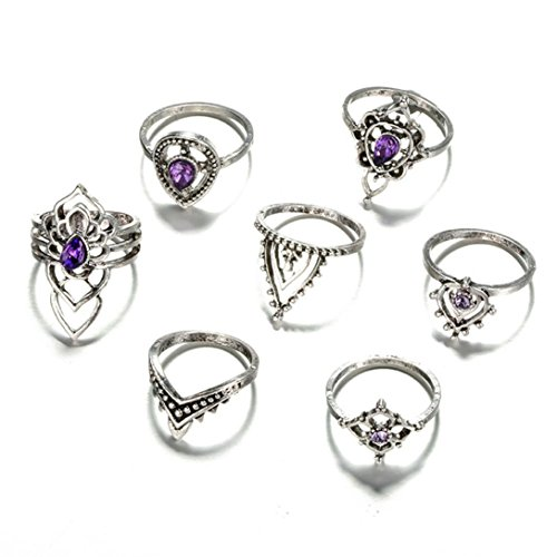 (Rings for Women,Caopixx Rings Set Natural Gemstone Fire Opal Crystal Ring Wedding Engagement Jewelry (Purple (7pcs), one)