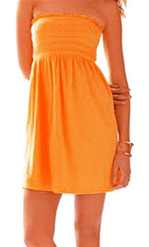 Cioccolato 22 Arancione Nuove Cima Increspato Sheering Pianura Signore Abito Raccolta Di Maglia In Mini 4 Salamoia Boobtube xxgSf