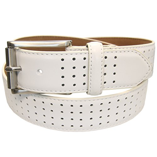 PGA TOUR Leather White Perforated Belt 35MM Men's - 100 WHITE - SIZE (Pga Tour Leather)