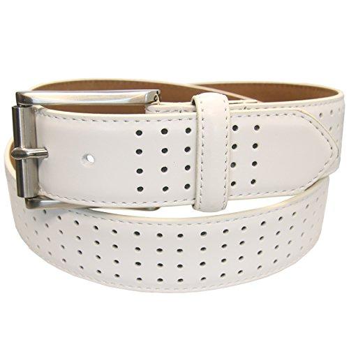 PGA TOUR Leather White Perforated Belt 35MM Men's - 100 WHITE - SIZE 44