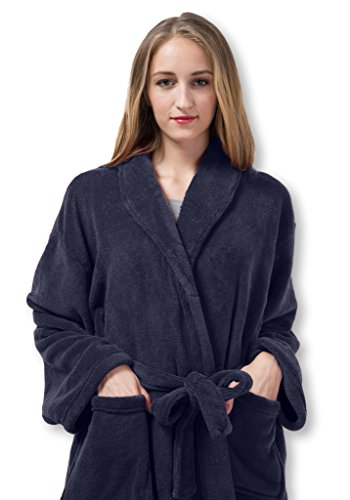 Pembrook Ladies Robe - Soft Fleece – Navy - Size L/XL – Spa Bathrobe Women Girls