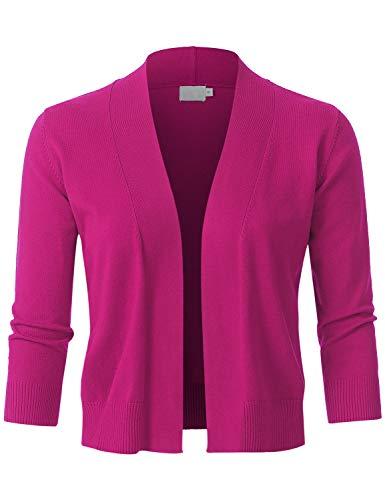 (JSCEND Womens Classic 3/4 Sleeve Open Front Cropped Bolero Cardigan Fuchsia XL)