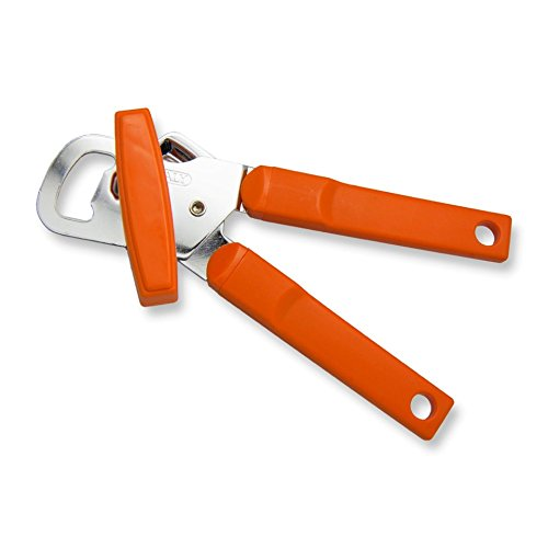 Left Handed Manual Can Opener, Orange Handle