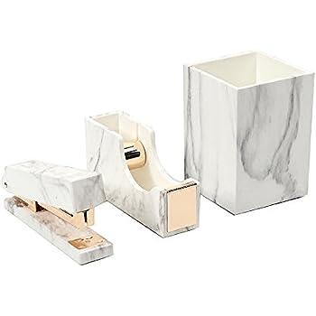 Amazon Com 3 Pack White Marble Print Abs Desk Pen Holder