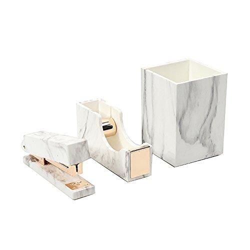- 3 Pack White Marble Print ABS Desk Pen Holder Cup, Tape Dispenser Holder, Desktop Staplers for Office Accessories Supplies (Pen Holder & Tape Dispenser & Stapler)