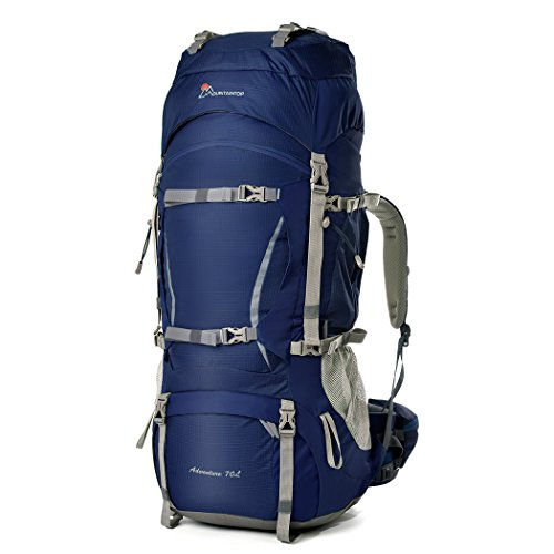 Mountaintop 70L+10L Outdoor Sport Internal Frame Backpack Hiking Backpack Backpacking Trekking Bag with Rain Cover for Climbing,camping,hiking,Travel and Mountaineering-5805II (Dark Blue)