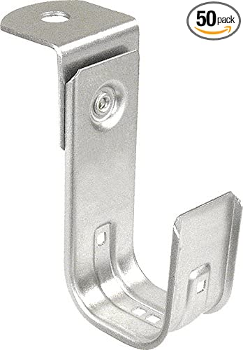 Southwire SW-JHK-32-AB 2 Support J-Hook with Angle Bracket Attachment Silver 2 Inch-50 Zinc Plated Steel Ceiling Mount 50 Pack Holds 80 CAT 5E Cables