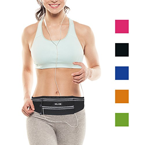 Sport Runner Zipper Waist Bag Running Belt Pouch Black - 1