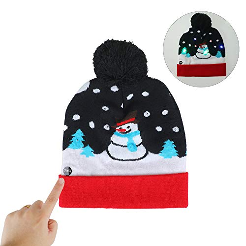NEARTOP Christmas Snowman Light up Flashing Beanie Hats for Christmas Decorations