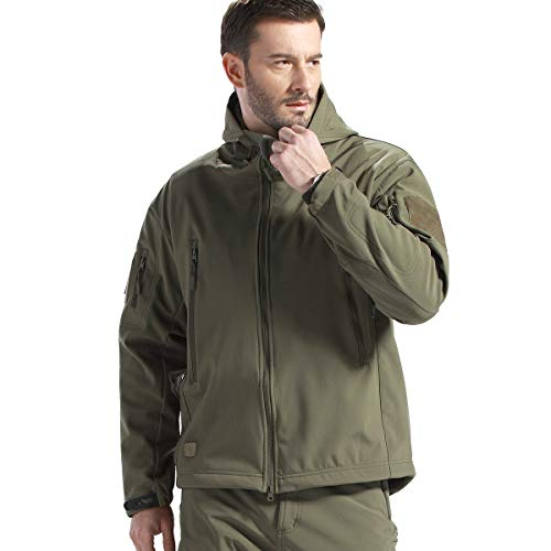 FREE SOLDIER Men's Tactical Jacket Waterproof Army Military Hooded Jacket Softshell Autumn Winter Jacket (Army Green XL)