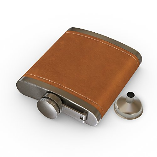 Flask Brown Leather, Hip Flask,2PCS by IBRR (Image #2)