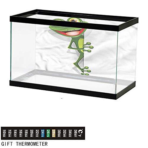 bybyhome Fish Tank Backdrop Cartoon,Jolly Frog and Gecko Lizard,Aquarium Background,48