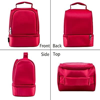 HOMEASY Insulated Lunch Bag Double Deck Bento Cooler Tote Bag - Free Cutlery Set and Ice Pack Included
