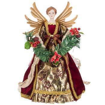 Gold & Burgundy Angel Tree Topper Christmas Figure Decoration Gift Keepsake 16