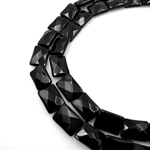 BRCbeads Gorgeous Faceted Black Onyx Rectangle Gemstone Loose Beads 13x18mm Approxi 15inch 22pcs 1 Strand per Bag for Jewelry - Pendant Faceted Onyx