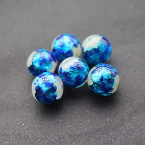 Calvas 10pcs/Lot Luminous Lampwork Beads Handmade 12mm Lampwork Glass Foil Beads Ocean Blue for Jewelry Making