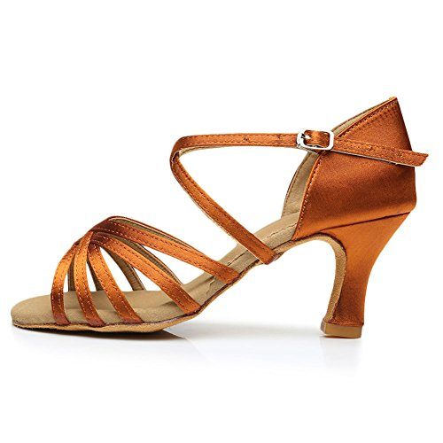 Cdso 3 Colors Women Satin Salsa Ballroom Latin Dance Shoes Heel 2.76 inches Bronze - Heel 2.76 Inches C7Fzc