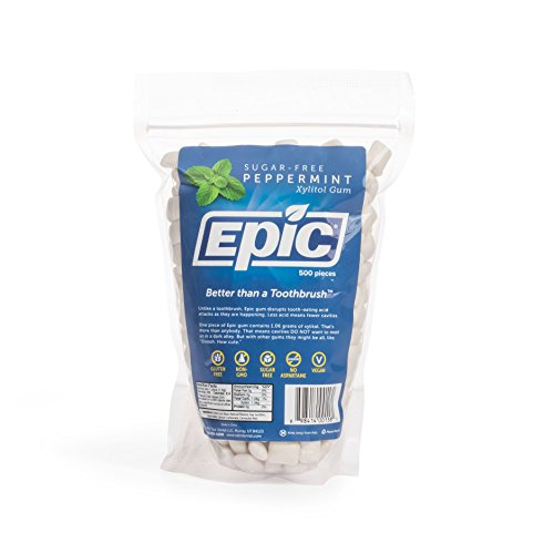 (Epic Dental 100% Xylitol Sweetened Gum, Peppermint, 500 Count Bag)