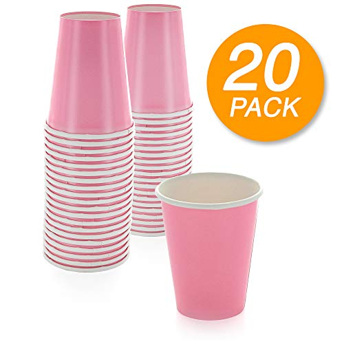 SparkSettings Disposable Paper Cups Drinking Paper Cup for Both Hot and Cold Beverages Perfect for Coffee, Tea, Water or Juice - New Pink, Pack of -