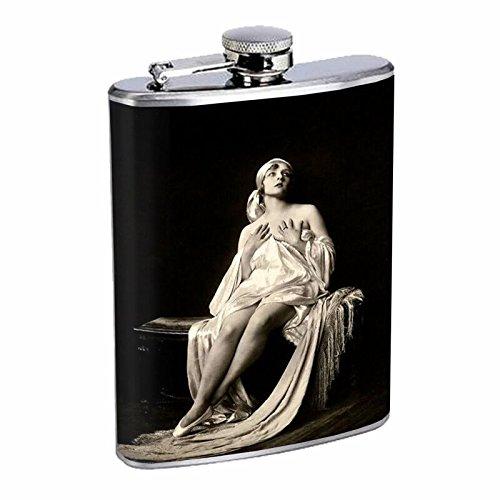 1920s Ziegfield Follies Girl Hip Flask Stainless Steel 8 Oz Silver Drinking Whiskey Spirits -