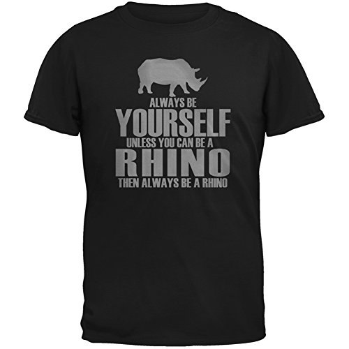 Animal World Always Be Yourself Rhino Black Adult T Shirt   X Large