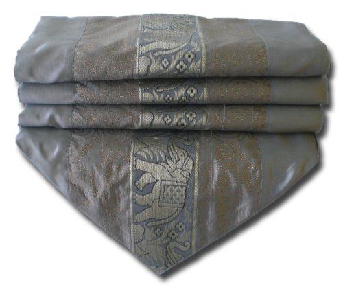 (soljo - tablecloth tablerunner table runner linen Thai Silk Elegant precious Elephant 150/200/250 cm x 30 cm many colors (grey, 250 cm x 30 cm))