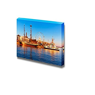 Beautiful Scenery Landscape Scenic Sunset Panorama of The Old Town Pier in Helsinki Finland - Canvas Art Wall Art - 32