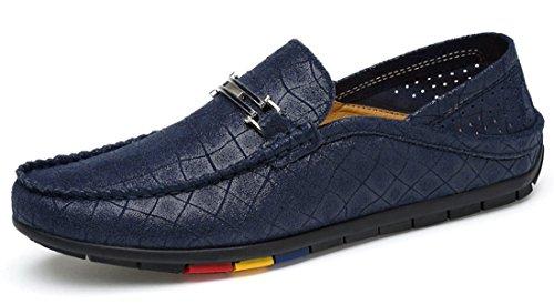Tda Herenmode Ademend Wandelen Lederen Stiksels Mocassins Rijden Cent Loafers Schoenen Blue-style2