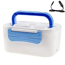 Portable Car Plug Heating Lunch Box 12V Electric Heating Lunch Box Meal Heater Food Container with Handle (Blue)