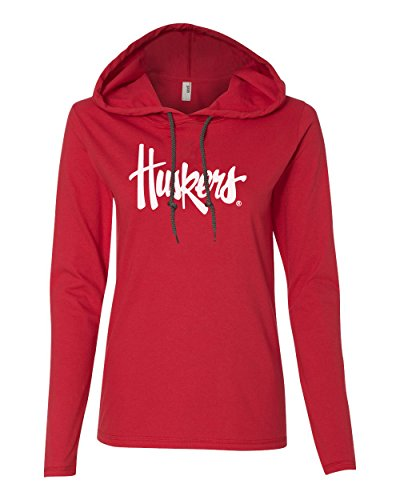 Women's Nebraska Cornhuskers Legacy Script Huskers Long Sleeve Hoody - Red - Medium