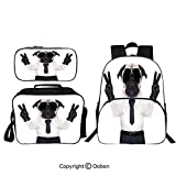 "Oobon Kids Toddler School Waterproof 3D Cartoon 16"" Backpack, Fancy Looking Pug Victory Sign with Both Paws Wearing Cool Black Sunglasses Animal Fun Decorative, with Lunch bag Pencil bag Three-piece"